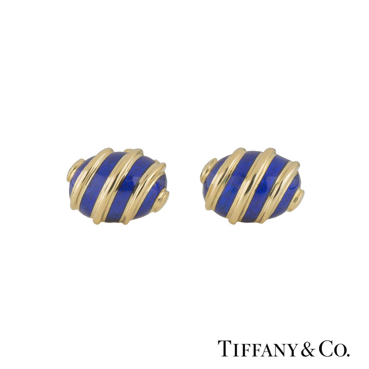 Tiffany & Co. Yellow Gold Enamel Olive Schlumberger Cufflinks